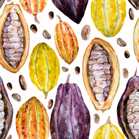 Beautiful pattern with nice hand drawn watercolor cocoa beans Ilustração
