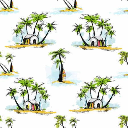 Beau motif avec belle dessiné à la main palmiers