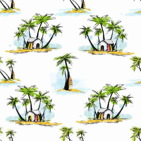 Beautiful pattern with nice hand drawn tropical palms
