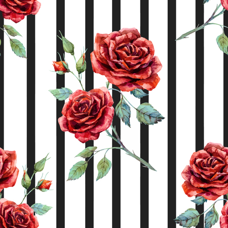 Beautiful pattern with nice hand drawn watercolor roses