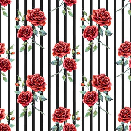 Beau motif avec de belles roses d'aquarelle dessinés à la main Banque d'images - 55164686