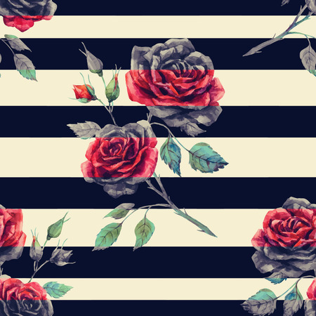 black stripes: Beautiful pattern with nice hand drawn watercolor roses