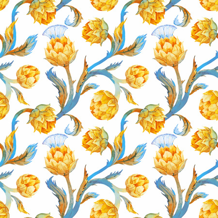 Beautiful pattern with nice watercolor articokes in art nouveau style