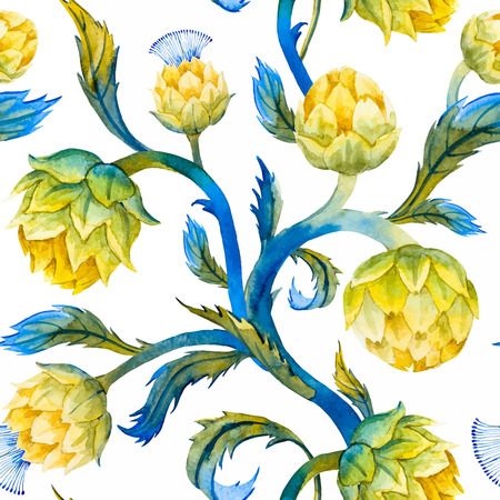 artichoke: Beautiful pattern with nice watercolor articokes in art nouveau style Illustration