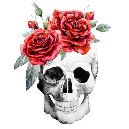 Bella imagen con el cráneo dibujado a mano de acuarela con las rosas