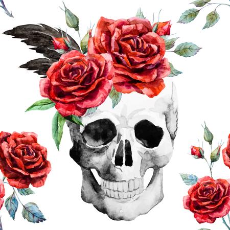 tete de mort: Beau motif avec un beau crâne aquarelle et roses Illustration