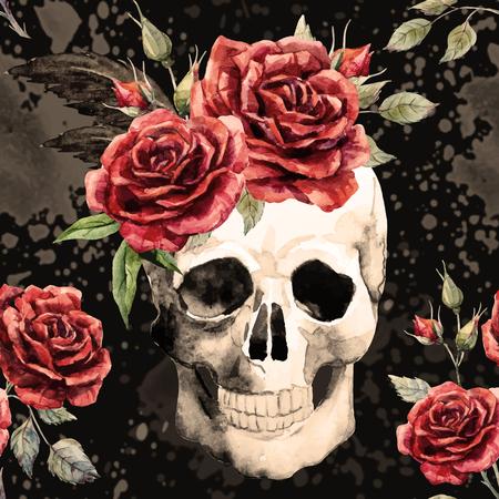 Beau motif avec un beau crâne aquarelle et roses