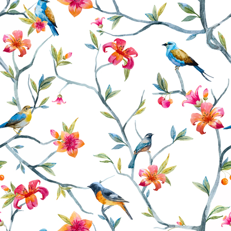 Pattern with hand drawn watercolor flowers and birds