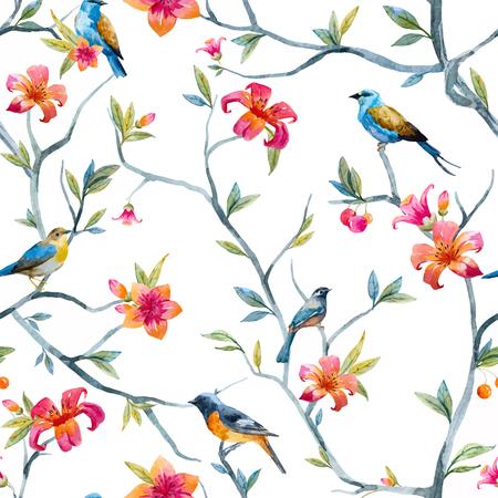 손으로 그린 수채화 꽃과 새와 패턴