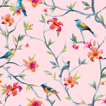 retro pattern: Pattern with hand drawn watercolor flowers and birds