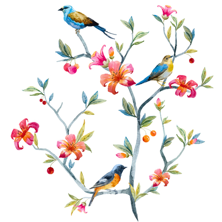 Watercolor hand drawn floral composition with birds