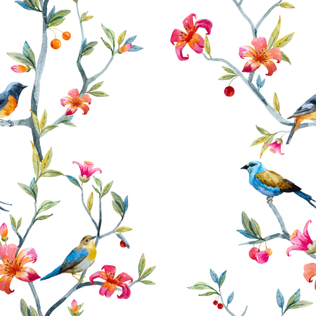 flor de cerezo: Pattern with hand drawn watercolor flowers and birds