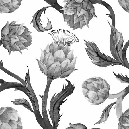 Schöne Muster mit schönen Aquarell articokes im Jugendstil Standard-Bild - 55092699