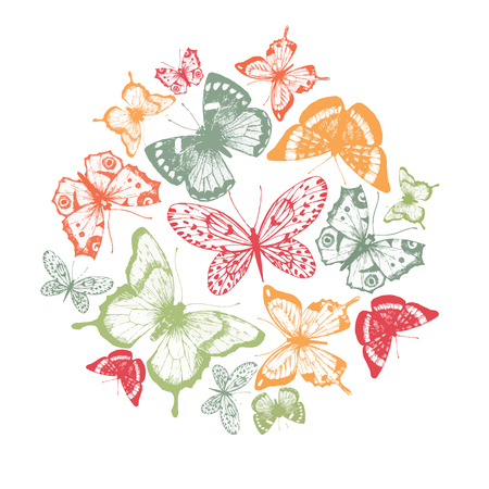 insect flies: Beautiful composition with nice hand drawn butterflies