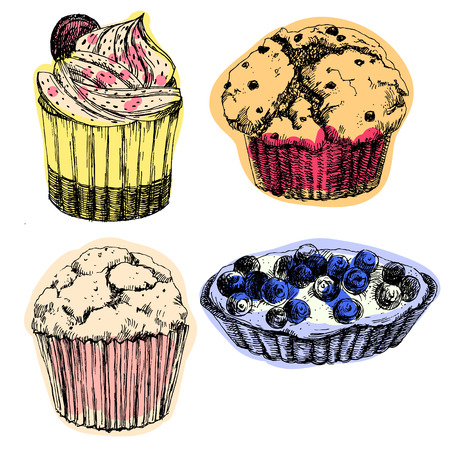 muffin: Beautiful image with tasty hand drawn cakes