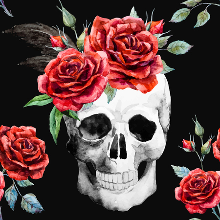 Beautiful pattern with nice watercolor skull and roses Stock Illustratie