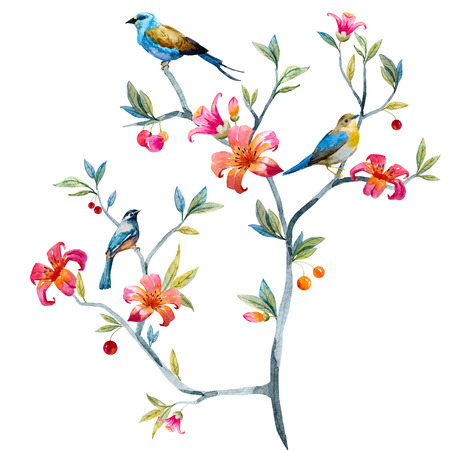 famous paintings: Watercolor hand drawn floral composition with birds