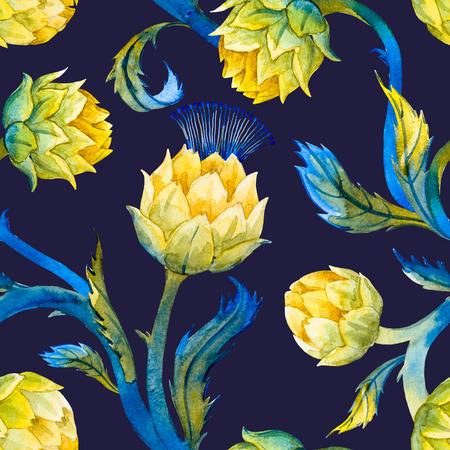 Mooi patroon met mooie aquarel articokes in art nouveau-stijl Stockfoto