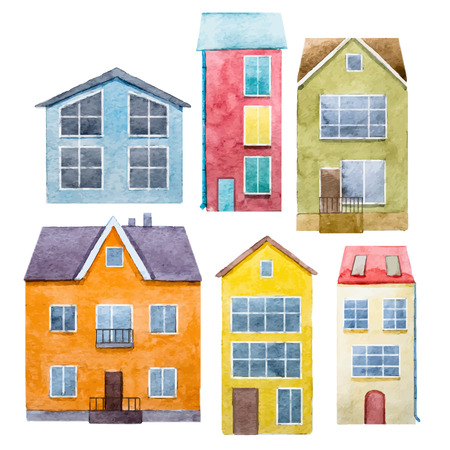 beautiful homes: Beautiful image with nice watercolor hand drawn houses Illustration