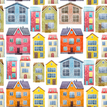 Beautiful pattern with nice hand drawn watercolor houses