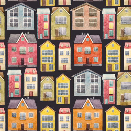 cottage garden: Beautiful pattern with nice hand drawn watercolor houses