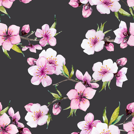 Beautiful pattern con bel acquerello Sakura fiori