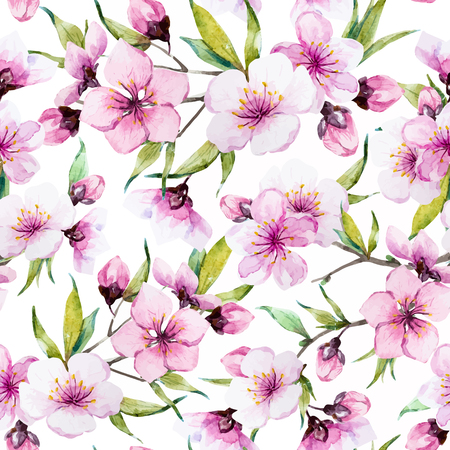 Beautiful pattern with nice watercolor sakura flowers Çizim