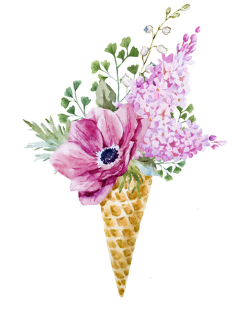 wafer: Beautiful image with nice watercolor wafer cone with flowers