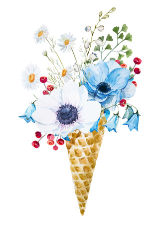 Beautiful image with nice watercolor wafer cone with flowers