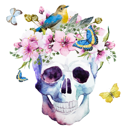 cherries isolated: Beautiful image with nice watercolor skull with flowers