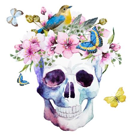 fleur de cerisier: Belle image avec une belle crâne d'aquarelle avec des fleurs