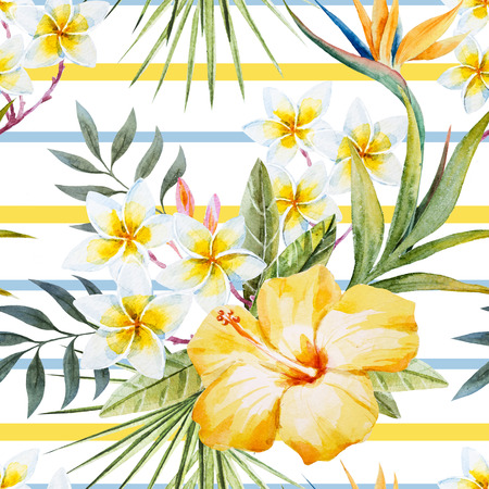 Beautiful pattern with nice tropical watercolor watercolor flowers and parrot