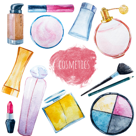 female pink: Beautiful set with hand drawn watercolor cosmetics