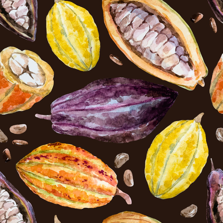 beans: Beautiful pattern with nice hand drawn watercolor cocoa beans Illustration