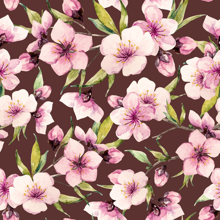 Beautiful pattern with nice watercolor sakura flowers