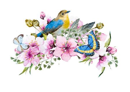 Belle image avec belle composition d'aquarelle avec oiseau Banque d'images