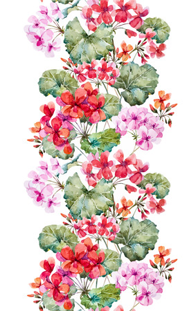 Beautiful pattern with nice hand drawn watercolor geranium flowers