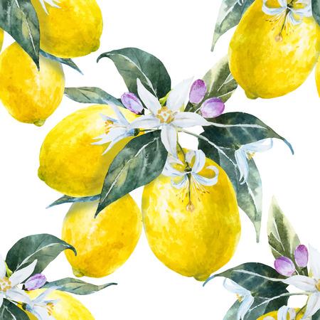 yellow flower tree: Beautiful pattern with nice hand drawn watercolor lemons Illustration