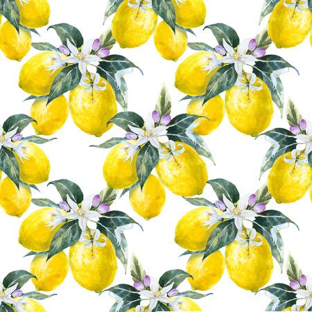 Beautiful pattern with nice hand drawn watercolor lemons Stock Illustratie