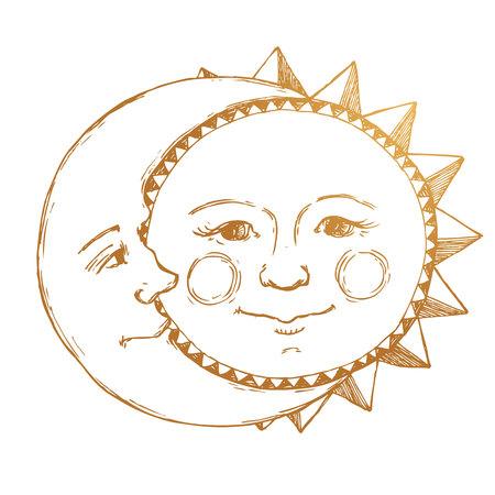 Belle image avec le soleil dessiné à la main agréable et relation de lune