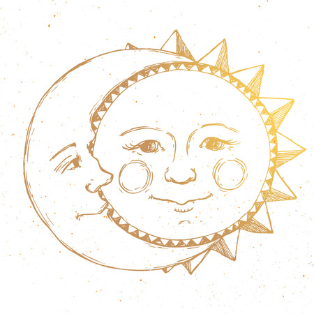 Beautiful image with nice hand drawn sun and moon relationship