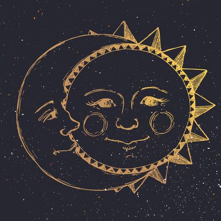 Mooi beeld met mooie hand getekende zon en de maan relatie