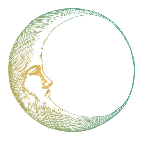 Bella immagine con la luna disegnati bella mano Vettoriali