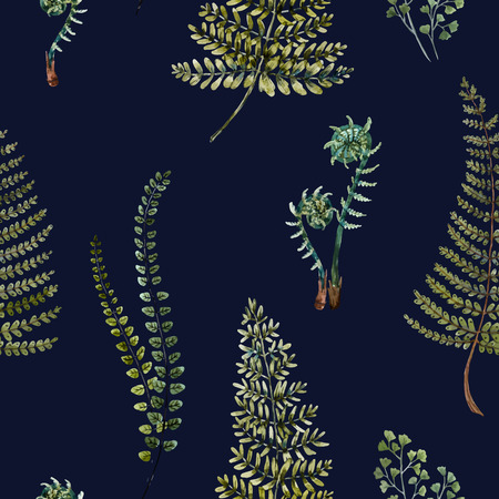 famous paintings: Beautiful pattern with nice watercolor fern leaves
