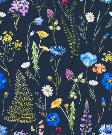 Beautiful pattern with nice watercolor hand drawn wild flowers Çizim