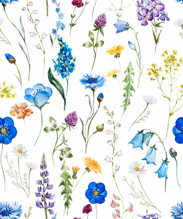 Beautiful pattern with nice watercolor hand drawn wild flowers