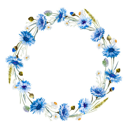 bright paintings: Beautiful image with nice watercolor cornflower wreath