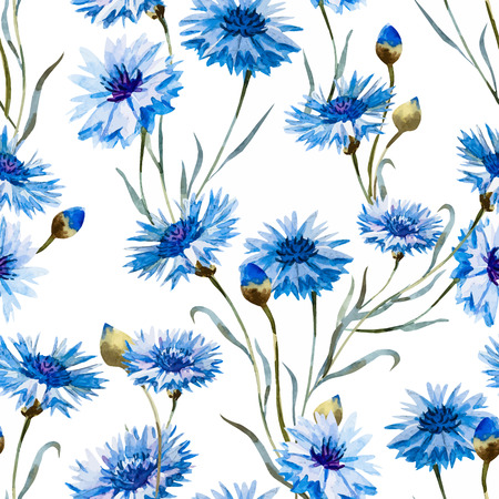 famous paintings: Beautiful pattern with nice watercolor hand drawn cornflowers