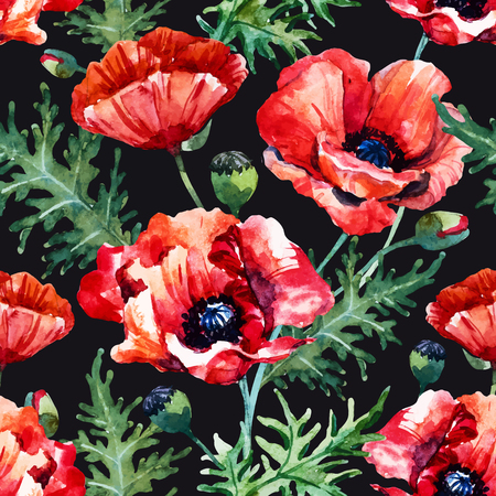 Beautiful pattern with nice hand drawn watercolor poppy flowers