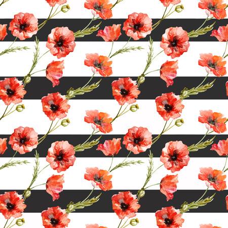 poppy flowers: Beautiful pattern with nice watercolor poppy flowers Illustration
